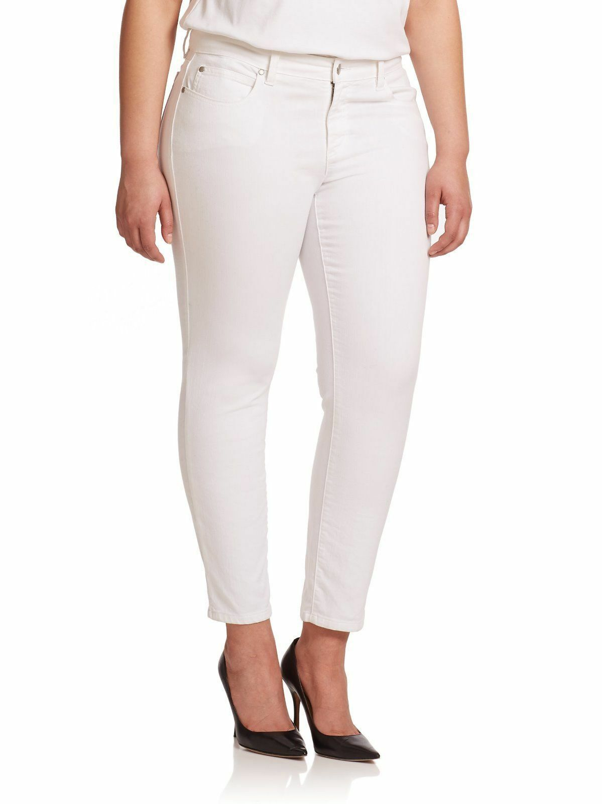 178 EILEEN FISHER NEW Ivory Textured Low-Rise Skinny Ankle Jeans.SZ 14
