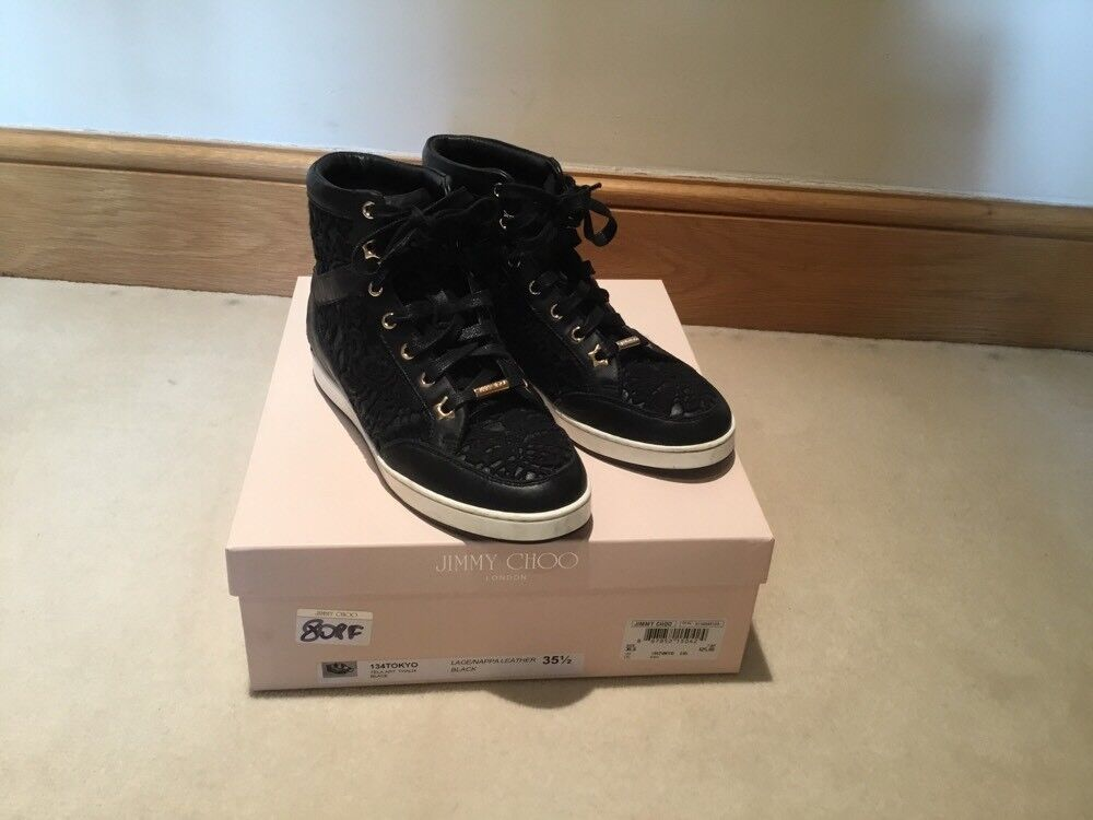 JIMMY CHOO tokyo lace hi top trainers size 35.5