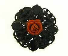 Vintage Black Paint Coated Metal Victorian Sculpted Coral Lucite Rose Flower Pin