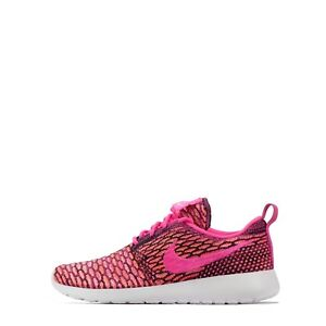 e75036c817e5 Nike Roshe Run One Flyknit Women s Trainers Shoes Pink Pow White