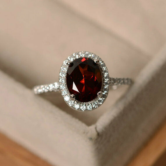 14K Solid White gold 2.30 Ct Oval Diamond Garnet Engagement Ring Size 5 6