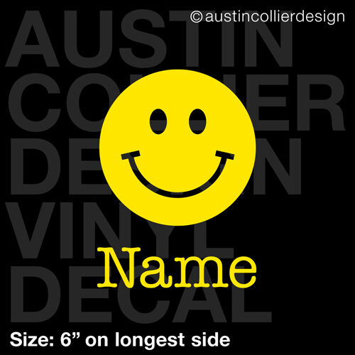 "6/"" PERSONALIZED HAPPY FACE vinyl decal car window laptop sticker custom smiley"