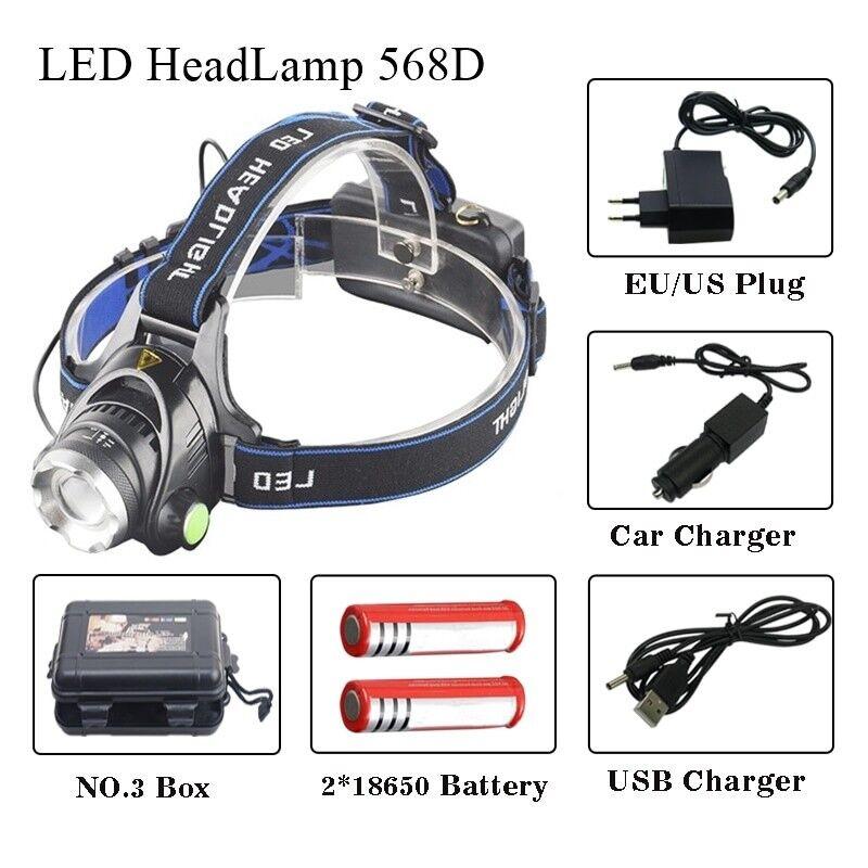 40000 Lumens headlamp 5LED T6 Headlight 4mode Headlamp Rechargeable Head Lamp f