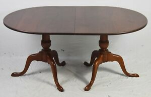 Details about ELDRED WHEELER Solid Cherry Double Pedestal Dining Room Table  Williamsburg Style