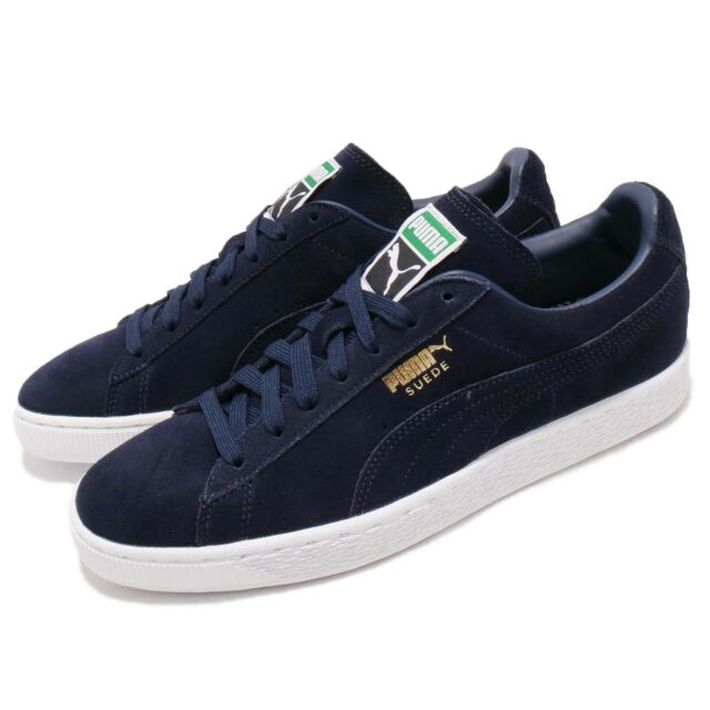 3bda47ccf7d Puma Suede Classic Peacoat Navy White Gold Men Casual Shoes Sneakers  356568-52