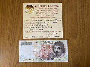 LIRE-100000-CARAVAGGIO-II-TIPO-D-1997-NUMERI-RADAR-RARA-SPL-SUBALPINA