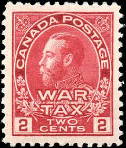 Mint-H-Canada-2c-1915-VF-Scott-MR2-War-Tax-Stamp