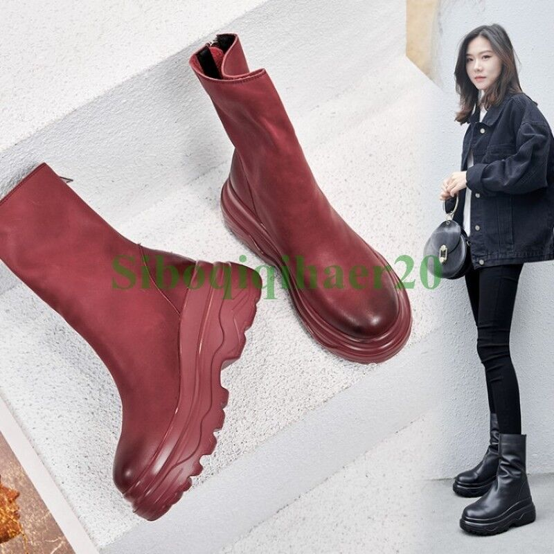 l'ultimo Punk donna Genuine Leather Pull Pull Pull On Ankel stivali Wedge Heel scarpe Winter scarpe SI  compra meglio