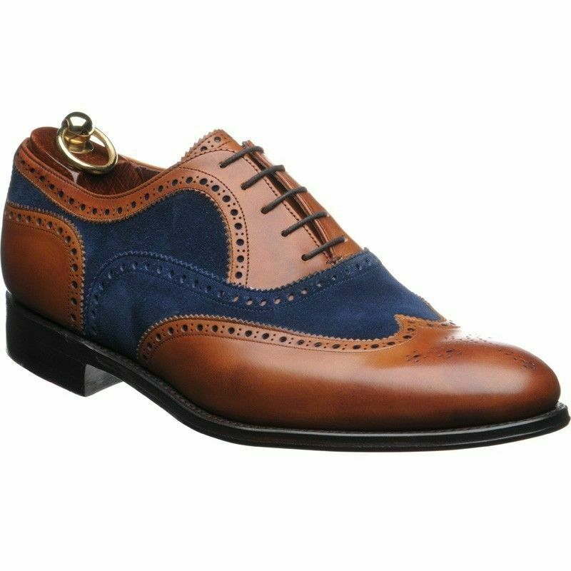 Mens Handmade shoes Two Tone Suede Leather Wingtip Brogue Formal Wear Dress Boot