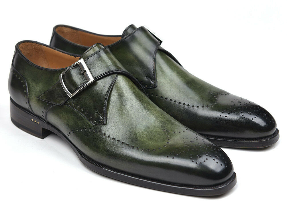 negozio outlet Paul Parkman Uomo Uomo Uomo Wingtip Single Monkstraps verde Hand Made scarpe  prezzi bassi
