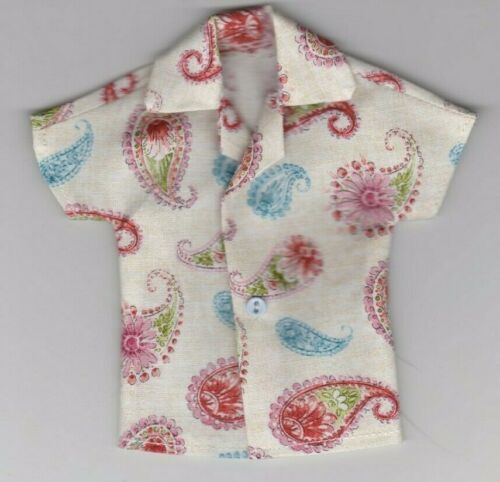 Homemade Doll Clothes-Colorful Paisley Print Shirt fits Ken Doll B1