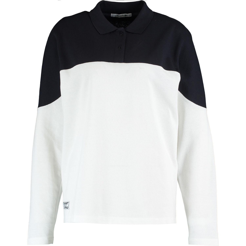 LACOSTE Woherren Weiß & Navy Two Tone Polo Shirt, Medium   FR 40