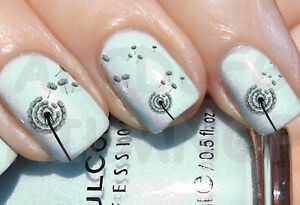 60x water decals soffione unghie nail art dandelion adesivi image is loading 60x water decals dandelion nails nail art dandelion prinsesfo Choice Image