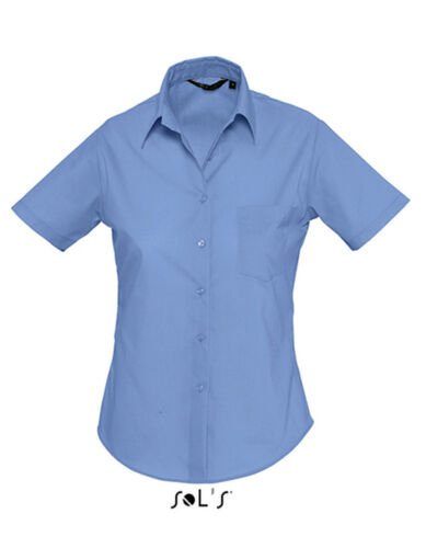 Damen Bluse Businessbluse Popeline Kurzarm XS S M L XL 2XL 3XL Leicht