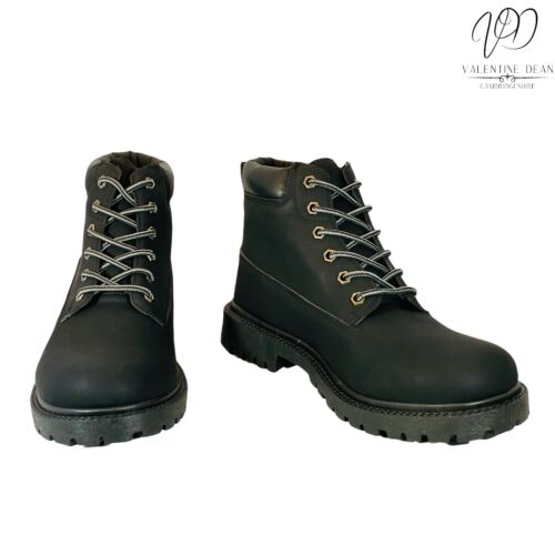 Studio Men's Boots Black Faux Leather Lace Up Chunky Sole Size 9 Uk