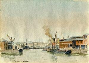 SHIPS-AT-LONDON-DOCK-Watercolour-Painting-CHARLES-VERNON-METHLEY-c1930-SEASCAPE