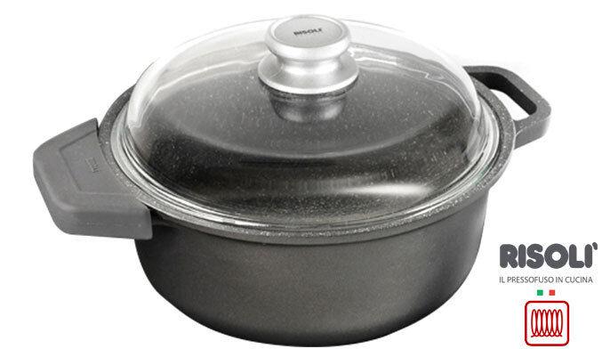 Risoli Saucepot GRANITO Tapa De Vidrio Y Gratis silicio INDUCTION Asas 24cm casserol