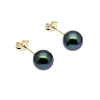 Black Pearl Earrings 9ct Gold Studs 7mm Round Cultured Freshwater Pearls