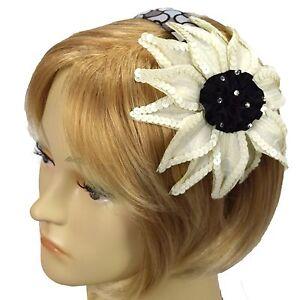 Handmade Fascinator Black White Sparkle Headband Hairband By Grace of New York