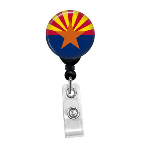 Custom Arizona Flag Badge Reel Retractable ID Name Card State Badge Holder