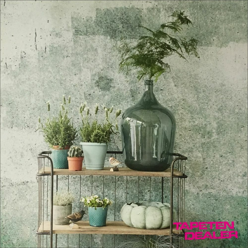 Eijfiinger Resource 369151 Wandbild / Betonwand Grün Metallic /  /qm