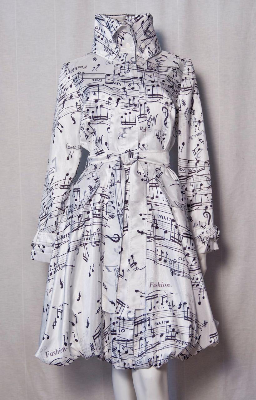 SAMUEL DONG BUBBLE COAT DRESS MUSIC NOTES 11665 (WHITE)