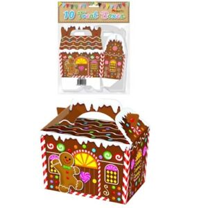 CHRISTMAS GINGERBREAD HOUSE BOX PAPER BAG PARTY FOOD BOXES XMAS EVE SWEETS TREAT