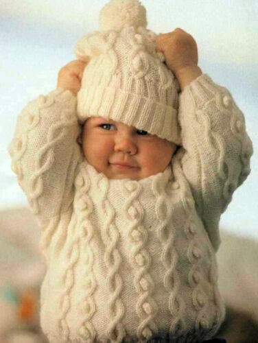 fits birth-18 months KNITTING Pattern Winter Cable knit sweater /& hat in 4ply