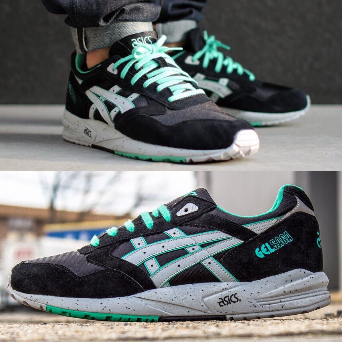 DS Asics Gel Saga Black Mint H137K, Size 13