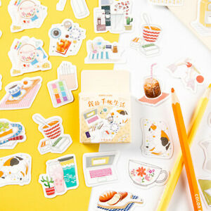 46Pcs-Pack-life-food-animals-Sticker-Diy-Scrapbooking-Sticker-Stationery-Deco