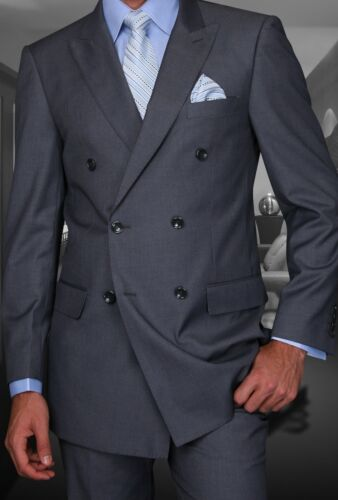 Mens Charcoal Double Breasted Wool Designer Business Suit 40-52