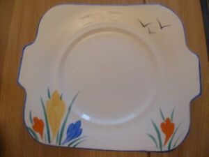 Details about Vintage Square Pottery Plate Yellow Painted Floral Design  ~Markings but No Name
