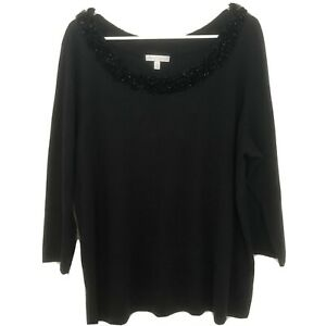 RSVP-by-Talbots-Sequin-Plus-Size-2X-Black-Sweater-Top-Long-Sleeve-Embellished
