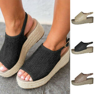 Womens-Ladies-Open-Toe-Buckle-Ankle-Strap-Sandals-Summer-Casual-Roman-Shoes-Size