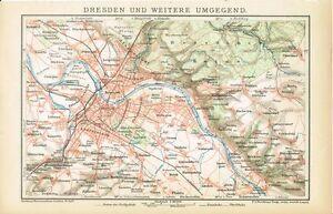 Karte Dresden Und Umgebung 1894 Original Graphik Ebay