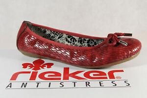 Rieker-Bailarina-41481-Mocasines-Zapatos-de-Tacon-Rojo-Suela-de-Goma-Nuevo