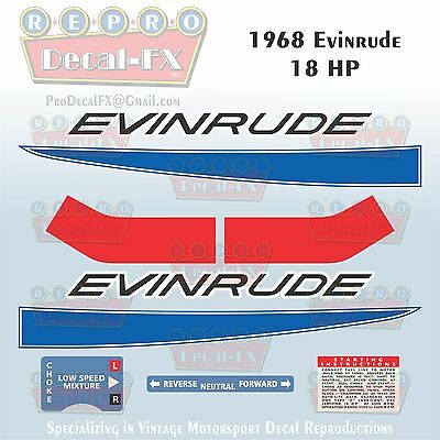 1967 Evinrude 18 HP Outboard Reproduction 5 Piece Marine Vinyl Decal 18702-03