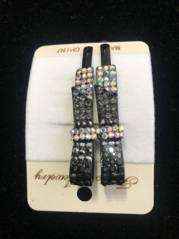2 Nero e Diamante Clip Clip per Capelli Barrette Con Cristalli
