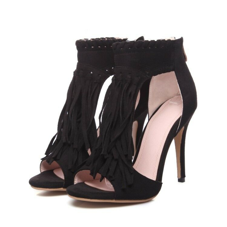 all'ingrosso a buon mercato donna fashion new tassels high high high heels open toe pumps faux suede dress scarpe Dimensione  vendita online