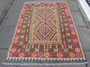 Kilim-Old-Traditional-Hand-Made-Afghan-Oriental-Kilim-Red-Brown-Wool-200x152cm