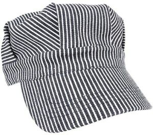 Train Conductor Hat Striped Engineer Cap Blue Hickory Stripe Railroad Military