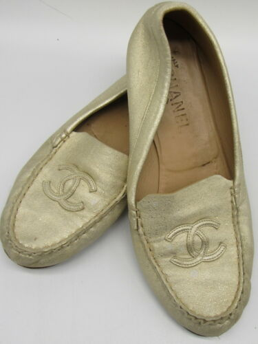 CHANEL gold cc loafers sz 38.5
