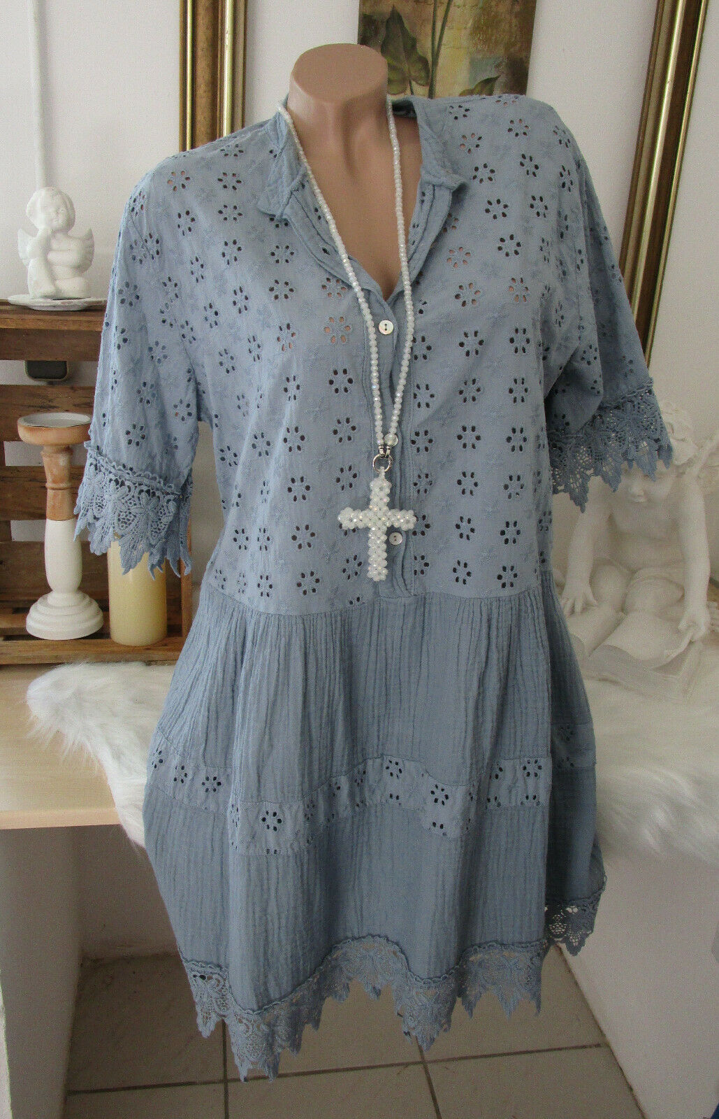 Neu Italy Oversize Blusenkleid Tunika Kleid Hippie Boho Blau Vintage 38 40 42