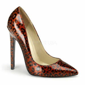 Pleaser SEXY-20 Women's Red Pearlized Patent Stiletto Pointy Toe Classic Pumps,