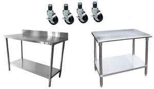 Worktable with 4 casters wheels stainless steel food prep restaurant kitchen ebay - Commercial kitchen tables on wheels ...