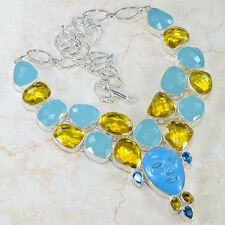 ENCHANTED HANDCRAFTED JASPER,CITRINE & AGATE GODDESS 925 SILVER NECKLACE 18""