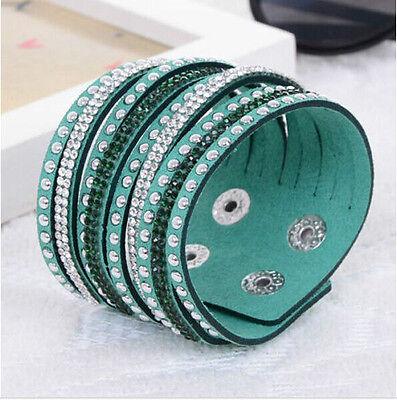 HOT Fashion Leather Wrap Wristband Cuff Punk Crystal Rhinestone Bracelet Bangle