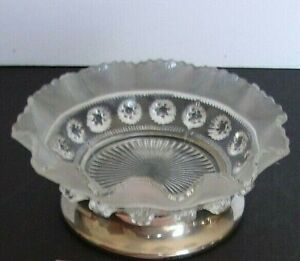 Vintage Plaqué Argent Pieds Verre Transparent Candy Dish-à Volants, dépoli avec baies