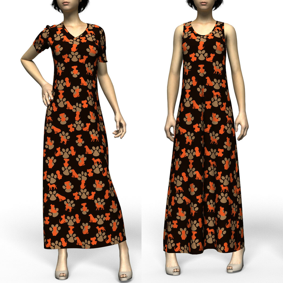 Dogs & Paws Cute Modest Short Sleeve & & & Sleeveless Maxi Dress Size XS-5XL Plus 4fc287