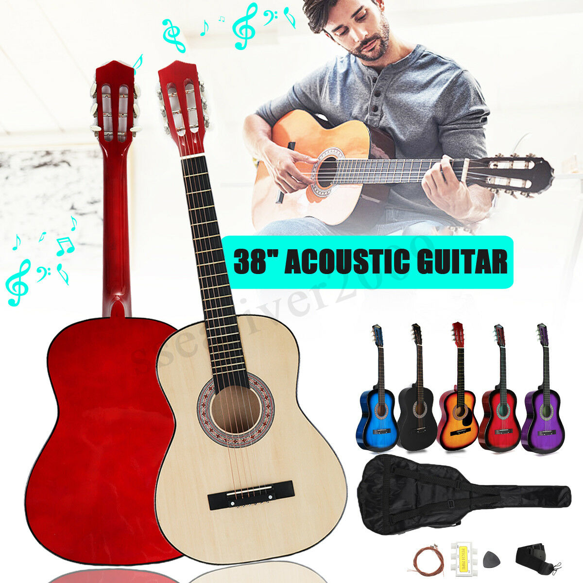 38'' Beginners Acoustic Guitar with Guitar Case, Strap, Tuner&Pick Steel Strings